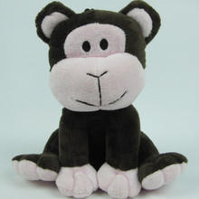 china manufacturer cheap price stuffed animal toy plush dark brown sitting monkey