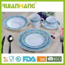 Porcelain bright colored dinnerware set for 4 people, colorful ceramic dinnerware set