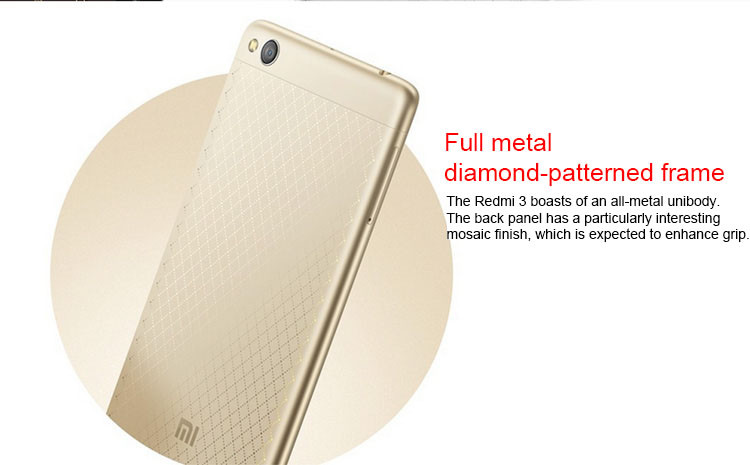 2016 New Xiaomi Phone Xiaomi Redmi 3 ( Hongmi 3 ) Qualcomm Snapdragon 616 Octa Core 1.5GHz Android 5.1 Metal Smart Phone