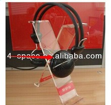 Shenzhen FSA Wholesale crystal clear headphone stand holder for retail,headset display rack and headphone display stand