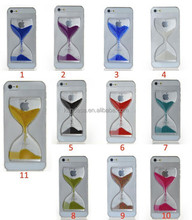 New Clear Sand Clock Sand Glass Transparent Flowing Hourglass Pattern Liquid Case For iPhone 4/4S Mobile Phone Covers