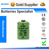 With CE,ROHS,UL certificates Ni-MH 1/3 AAA Battery Cell 150mAh
