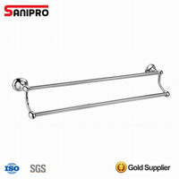 Bathroom Accessories Wall Mounted Chrome Double Towel Rail Bar
