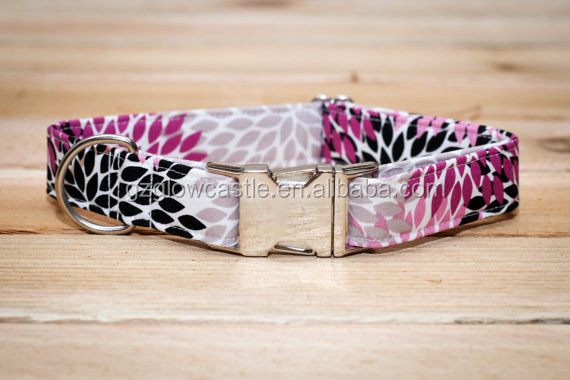 Female Dog Collar in Purple, Gray & Black Floral with Metal Buckle.jpg