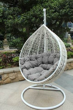 2016 New arrival synthetic rattan swing chair/wicker egg chair/rattan hanging chair with steel frame