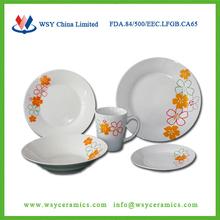20pcs custom flower printing cheap ceramic porcelain dinnerware set