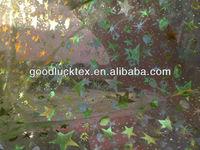 silver star printed organza fabric