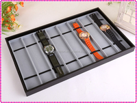 Gray fashion high quality watch display tray, velvet watch tray for man