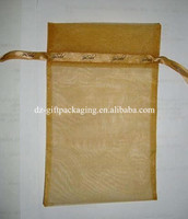 wholesale yellow organza bags with logo ribbon,organza gift bag ,promotional organza bag organza cosmetic bag