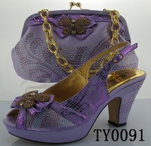 OEM lady leather high grade party italian shoe and bag matching sets