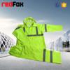 high visibility reflective safety pu coated roadway rain jacket