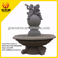 garden tier large outdoor water fountains with ball and boy carving