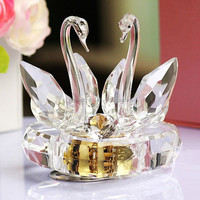 Hot sale high quality & nice Crystal Swans Love Music Box for Wedding Gift or valentine's gift