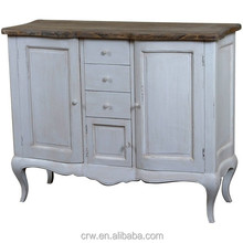 OA-4091 High Quality Classical Solid Oak French Buffet Furniture with Curved Doors