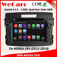 WECARO China Factory HD 1080P Pure Android 4.4.4 2 Din Car Dvd For Honda CRV