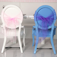 Multicolored chair covers organza sashes for wedding decoration