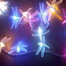 luz multicolor para el festival de libélula led luz de la secuencia