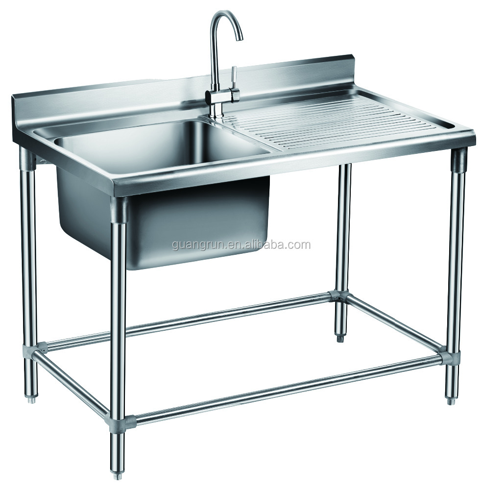Free Standing Kitchen Sink : ... Free-standing Heavy-duty Commercial Stainless Steel Kitchen Sink with