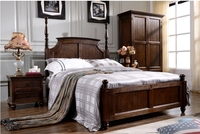 High quality American style bedroom furniture designs of teak solid wood bed
