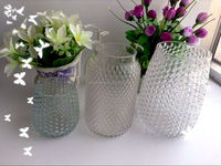 Wholesale glass vase handmade heavy calibre carving spray colors vintage Style