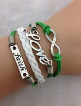 Infinity, Love and Faith Charm Bracelet in Silver - Kelly Green Wax Cords and White 1750 Min order 10$