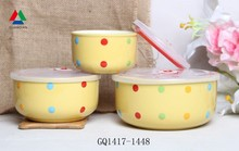 Yellow color ceramic bowl ceramic fresh bowl with colorful dot pattern