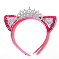 Fashion girls crown and tiara Sequin cat ear hairband kids animal ear headband