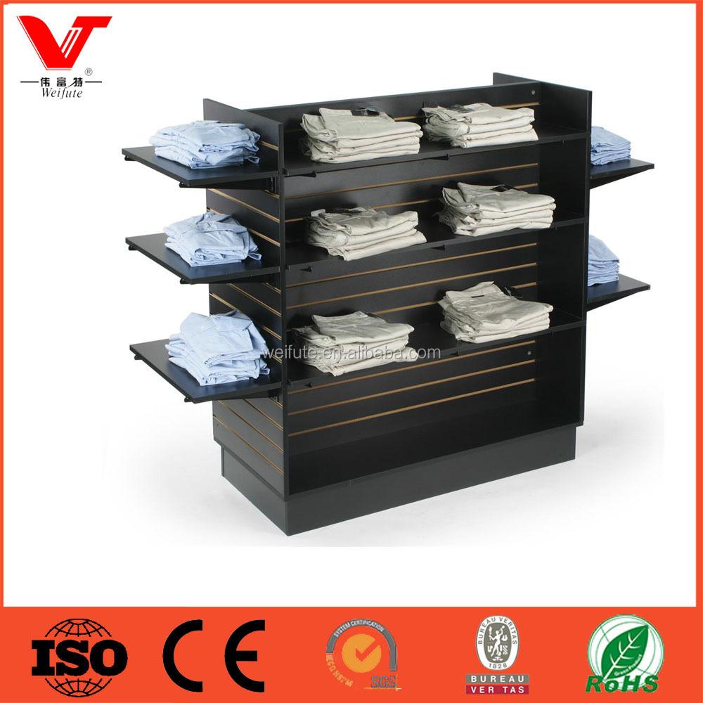 retail floor display stand wood display shelf wood cothing. Black Bedroom Furniture Sets. Home Design Ideas
