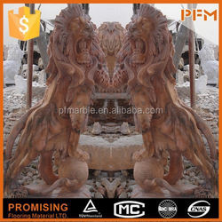 2015 hot sale natural red marble made hand carved home yard decorative lion sculpture