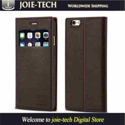 genuine pu leather cell phone protector cases clear open window magnetic safe buckle cases for iphone 6
