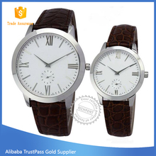 Top quality leather strap men wristwatch with stainless steel