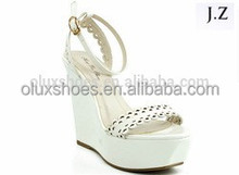 OS17 Wedge cross strap Roman straw high heels Ankle Strap Sandalsd