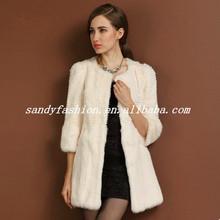 2014 New winter fashion long rabbit fur coat for lady