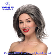 2015 New Arrival Wholesale cheap syntheitc hair hag gray wig short madam wig for middle age