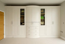 Factory price Solid wood white wardrobe with curved door