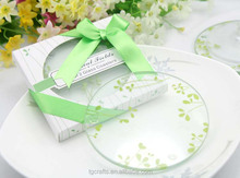 Factory beer glass coaster green grass printing design round glass coasters