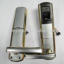 Satin Chrome with Golden edge Fingerprint Door Lock E7F4 with 5 Latch Auto Alarm and Antistrike 120pcs fingerprint