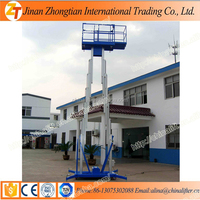 Aluminum aerial dual mast cleaning lift platform vertical hydraulic mast lift