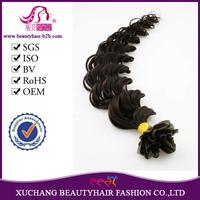 nail hair extention/u tip hair extention/100 keratin tip human hair extension