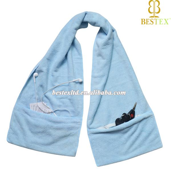 Microfiber Gym Towel With Zip: Grey Cheap Workout Microfiber Zipper Pocket Gym Towel With