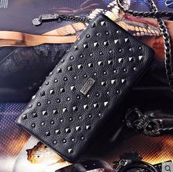 15/16 tide brand wallet Female Long Wallet Zipper Wallet rivet leather soft cow clutch and Thin Wallet