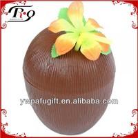 hawaiian plastic straw and flower coconut cup