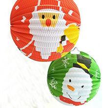 Boneco de neve e pai natal papel acordeão lanternas de papel haning bolas para decoração de festa de férias