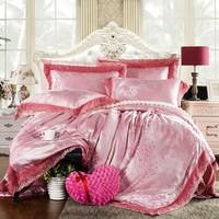 China nantong supplier luxury jacquard bedding set fashion bridal bed sheet set king size lace duvet cover set