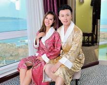 silk long nightgown pyjamas men's clothing bathrobes for women