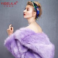 Custom Made European Style Yigelila 9340 New 2015 Cute Purple Women Warmest Winter Long Sleeve Hooded Mink Faux Fur Winter Coats