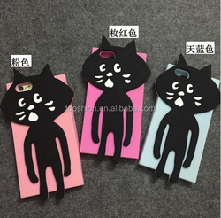 2015 silicon thick phone case for iphone 6 silicone case mix colors cute black cat silicone cases