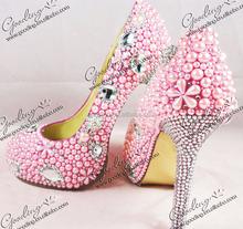 moda diamante 2015 pompe con tacchi punta chiusa perle rosa scarpe da sera