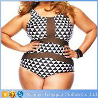 US Free Shipping Stock In USA Plus Size Swimwear Women Mesh Insert Trigon Print Teddy One Piece Swimsuit