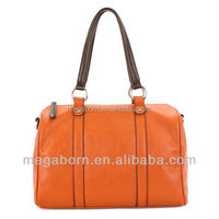 Orange Trend Modern Texture Genuine Leather Handbag
